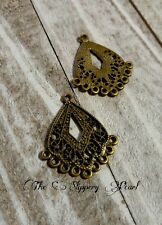 Earring Findings-Chandelier Earring Components-Antiqued Bronze-10pcs-Filigree