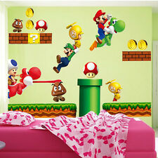 Super Mario Bros Kids Removable Wall Sticker Decals Nursery Home Decor Vinyl Q