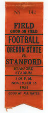 1958 College Football Ribbon Stanford University vs Oregon State