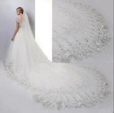 3M Luxury 1T Cathedral wedding Veil lace Sequins Long ivory Veil +comb