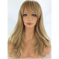 FULL LONG WOMENS LADIES FASHION HAIR WIG BLONDE TIPPED HEAT RESIST KIMSWIGS