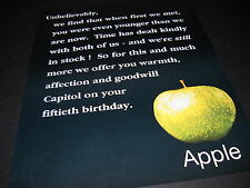 APPLE RECORDS 1992 Promo Display Ad CONGRATS CAPITOL RECORDS ON 50TH Birthday