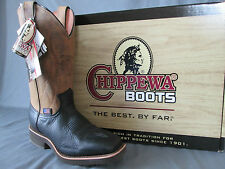 MENS CHIPPEWA 12 INCH BLACK / TAN SQUARE TOE PULL ON COWBOY BOOT #29328 7 D