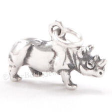 3D RHINOCEROS Rhino Africa Safari Zoo Animal 925 Charm Pendant STERLING SILVER