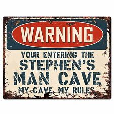 PP2674 WARNING ENTERING STEPHEN'S MAN CAVE Chic Sign Home Store Decor Funny Gift