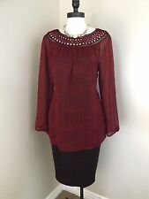 NEW Coldwater Creek Celebration Blouse L 14 Red Chiffon Print Top Lined Womens