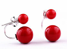New Pair Double Coral Red South Sea Shell Pearl Sterling Silver Stud Earrings