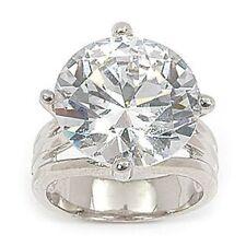 Grosse Bague Rhodié  T58 Sertie Diamant Cz 15 mm Argent 925 Dolly-Bijoux