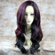 Sexy Beautiful Layered wavy Red mix Long Ladies Wigs Burgundy Skin Top WIWIGS UK
