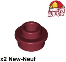 Lego 2x Plate Round plaque ronde trou Open Stud 1x1 rouge f./dark red 85861 NEUF