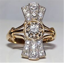 ART DECO 18CT YELLOW  GOLD 0.75CT DIAMOND FAN CLUSTER COCKTAIL RING Size O