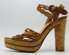FRYE Tan Lena Leaf Leather Peep Toe Cork Heel & Platform High Heel Shoes Size 9M