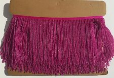 "1 Yard 6.5"" Hot Pink Glass Seed Bead Beaded Fringe Lamp Lampshade Costume Trim"