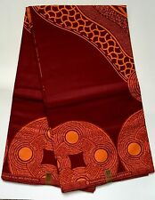 African Print Fabric, Ankara - Dark Red  & Orange 'Nostradamus ' - By the Yard