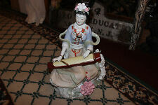 Large Chinese Ceramic Porcelain Figure Woman Playing Instrument-Flowers Colorful