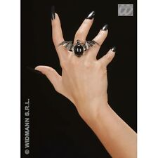 Gothic Bat Ring with Black Gem Jewellery for Halloween Emo Goth Fancy Dress Acce