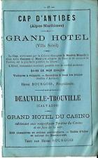 Stampa antica pubblicità HOTELS a CAP D'ANTIBES e DEAUVILLE 1870 Antique print