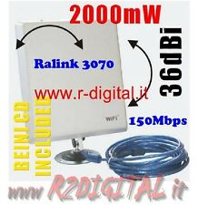 ANTENNA ULTRA POTENTE RICEVITORE WIFI USB WIRELESS 36dbi AMPLIFICATORE 150 MBPS