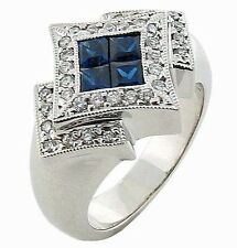 Diamond & Blue Sapphire Invisible Cocktail Ring 14K Solid White Gold 1.30 TCW