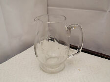 SMALL SHAPED FOOTED GLASS CREAM / WATER / MILK JUG   NO MAKER