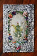 VICTORIAN VALENTINE CARD DOUBLE PAPER LACE SILVERED FABRIC SCRAPS SILK OPENS
