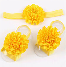 1set/3Pcs Baby Infant Headband Foot Flower Elastic Hair Band Accessories Yellow#
