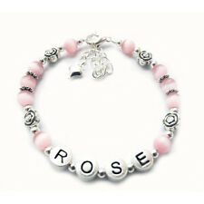 Girl's Name Personalised Bracelet - Rose Design