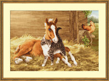 GOLDEN FLEECE COUNTED CROSS STITCH KIT GOOD MORNIG PETS CATTS HORSES EMBROIDERY