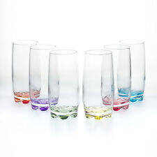 6 x Set ArtCraft Multicoloured Highball 370cc Water Juice Cocktail Glass Boxed