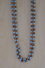 """60"""" Turquoise Navajo Ghost/Cedar Beads Necklace. Juniper Berry by L. Bitsoie."""