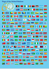 A3 Poster – Flags of the United Nations (Picture Poster UN Peacekeeping Art)