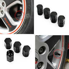BLACK Wheel Rim Tyre Metal Air Valve Caps Dust Covers Car Bike Van Metal HS6 4PC