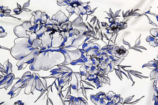 100% Pure Silk Fabric Blue&White Flower 45 INCH Width Floral Print By Yard P029