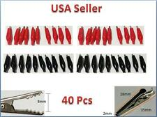 40PCS Battery Clamp Test Probe Electrical Alligator Clip Boot 28mm Black & Red