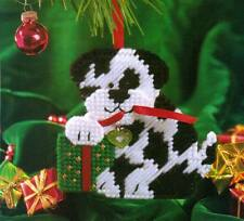PUPPY PLAY ORNAMENT DOG CHRISTMAS PLASTIC CANVAS PATTERN INSTRUCTIONS