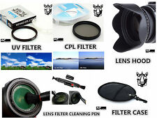 FP2u UV CPL Filter + Lens Hood + Filter Case + LensPen for Nikon DL24-85 Camera