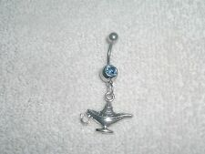 Magic Genie Wish Lamp Charm Belly Navel Ring Body Jewelry 14g Stainless Steel