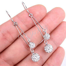 925 Sterling Silver Double Disco Ball 51mm Long Threader Dangle Earrings H752