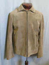 Banana Republic LEATHER-SUEDE Beige Jacket M Mens Full Dual Zip Dress Casual