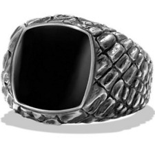 David Yurman Naturals Gator Signet Ring w/ Black Jade in Sterling Silver, Size 8