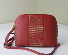 Michael Kors Red Saffiano Leather Microstud Cindy Large Dome Crossbody