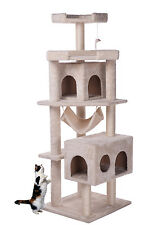Merax Cat Tree Cat Tower with Condo/House Carb-certified Furniture Off-white