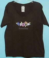 FRESH PRODUCE T SHIRT SEMI-SWEET CHOCOLATE M  PINK FLORAL COTTON
