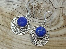 SOLID 925 STERLING SILVER LAPIS LAZULI GEMSTONE DANGLE EARRINGS