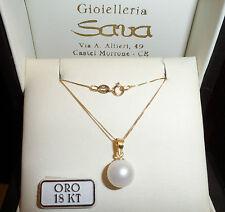 Collana veneziana oro giallo 750 18 kt e ciondolo perla da 10 mm. gr. 2.2 NUOVO