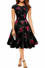 130 NEW FACTORY SECONDS BLACK FLORAL ROCKABILLY SWING PIN UP DRESS SIZE 18 BN