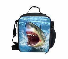 Blue Shark Thermal Insulated Picnic Lunch Bags Kids School Cooler Lunch Box Bag