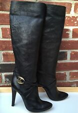 JUST CAVALLI Black Leather Knee High Heel Boots Sexy ! Size 37 6.5 RARE! $835