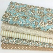 Soft Blues & beige 5 piece fat quarter bundle 100% Cotton fabric    FREE P&P