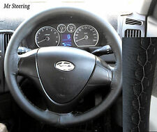 FOR HYUNDAI COUPE 1999-08 REAL BLACK LEATHER STEERING WHEEL COVER GREY STITCH